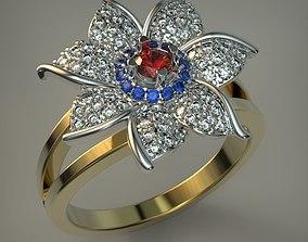 silver Flower ring 3D print model