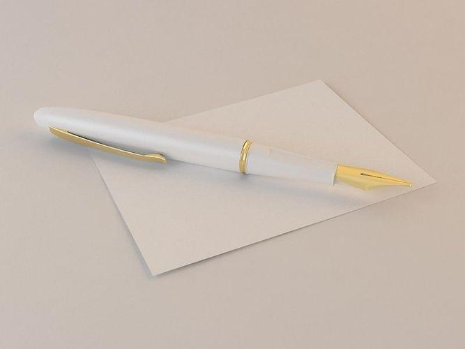 Pen On Paper 3d Model Max Cgtrader Com