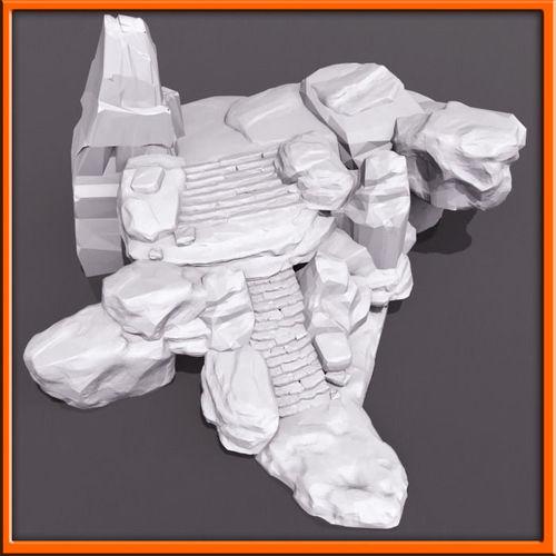 Generic stone stairs BaseMesh set- 023D model