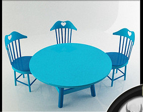 Children Chairs and Table 3D model