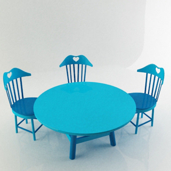 Children Chairs and Table 3D Model MAX OBJ 3DS