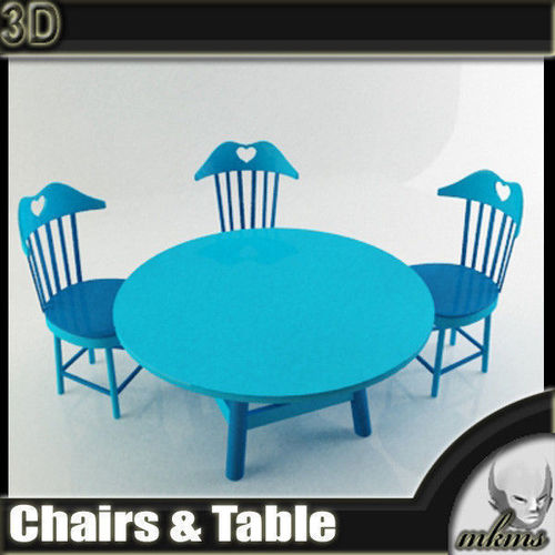 Children Chairs and Table3D model