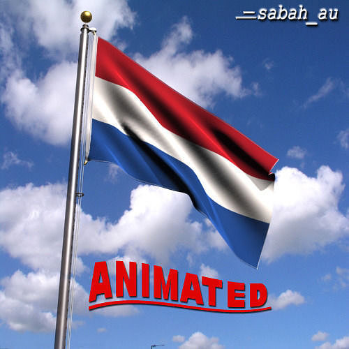animated netherlands flag 3d model max 1