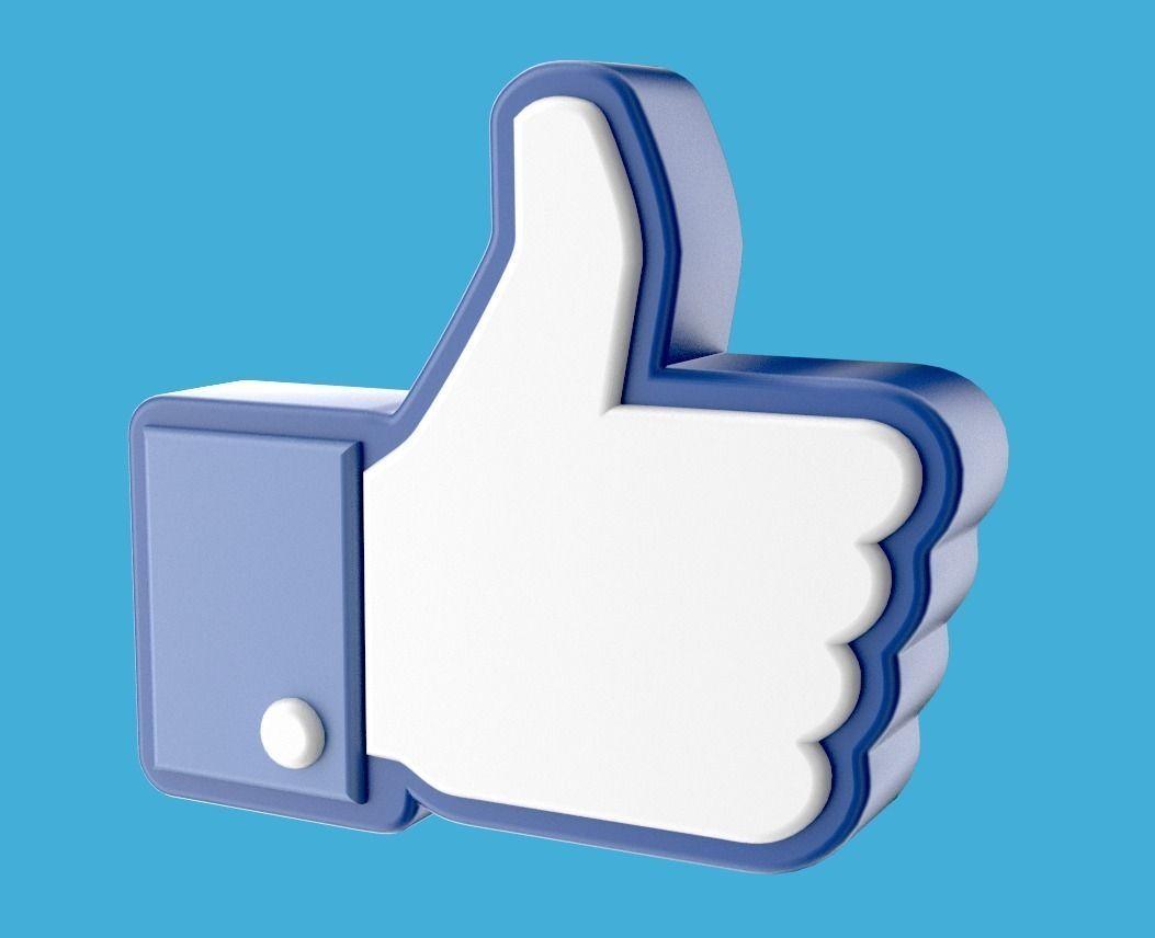 Facebook Like Thumb Up Hand Icon 3d 3d Model Obj Blend