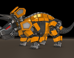 Dinosaur triceratops robot 3D Model