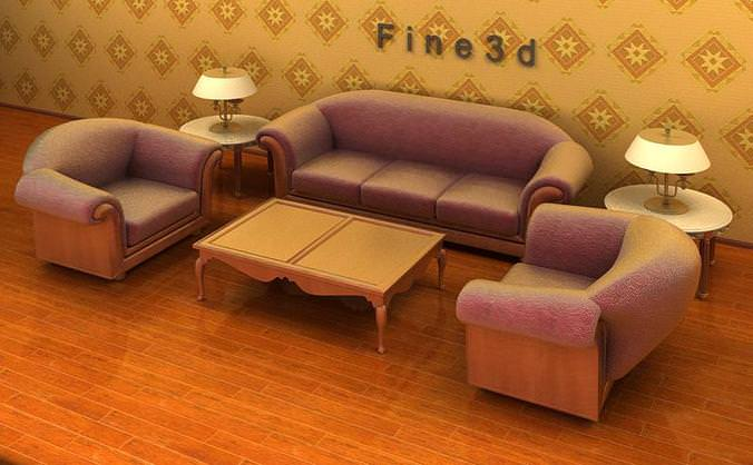 3d living room set 04 002 cgtrader for The living room 002