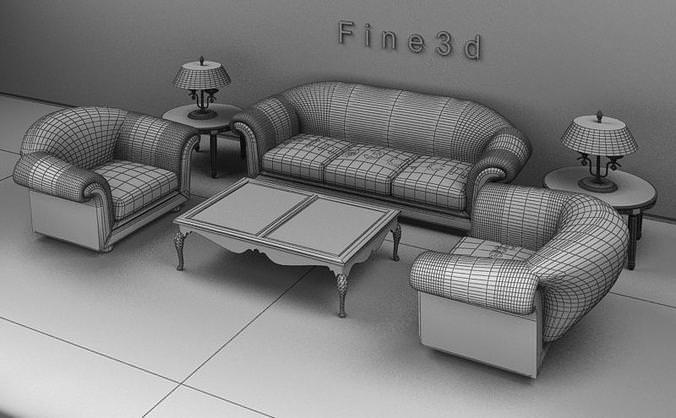 Living room set 04 002 3d model obj 3ds for The living room 002