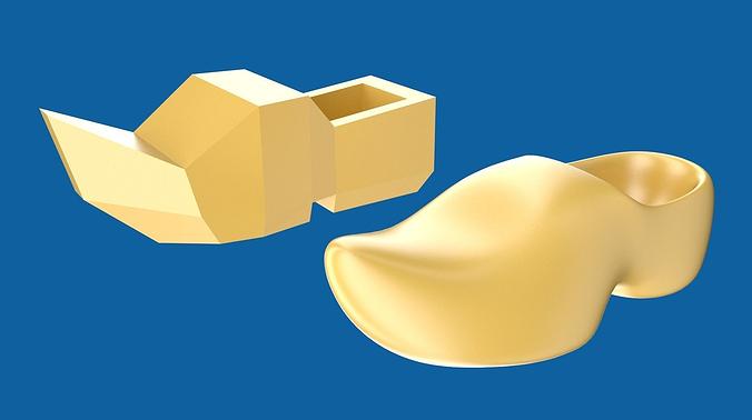 clog or wooden shoe 3d model low-poly obj blend 1