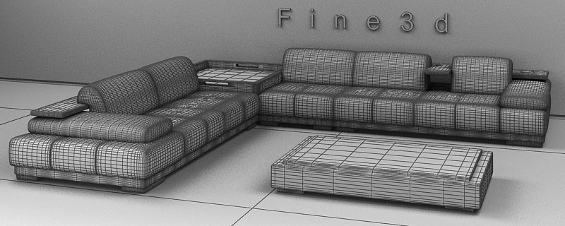 Living Room Furniture 04 Combination Sofa 021 3d Model Obj 3ds