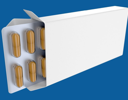 Medicine or drug box with capsules 3D model