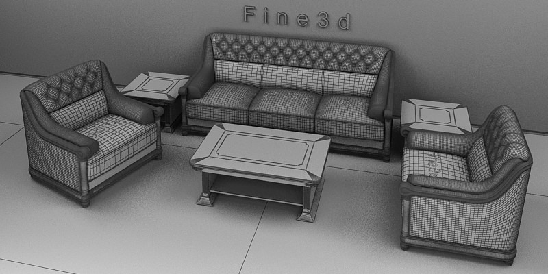 Living room furniture set 3d model obj 3ds for New model living room furniture