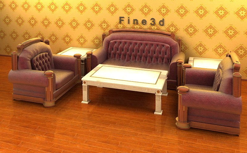 Living room furniture 04 combination sofa 017 3d model for New model living room furniture