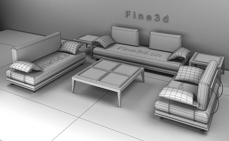 Living room furniture 04 combination sofa 020 3d model obj for New model living room furniture