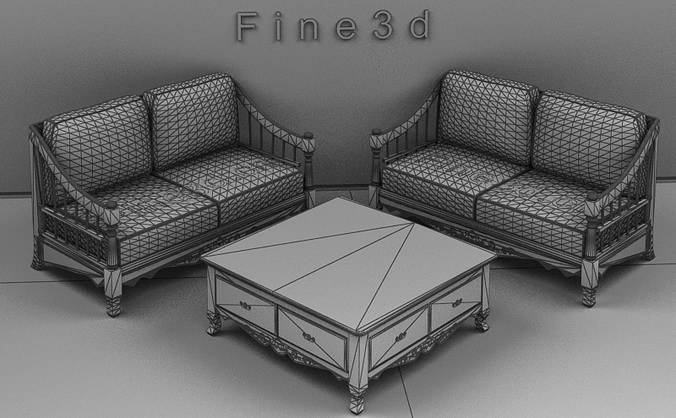 Living room furniture 04 combination sofa 021 3d model obj for New model living room furniture