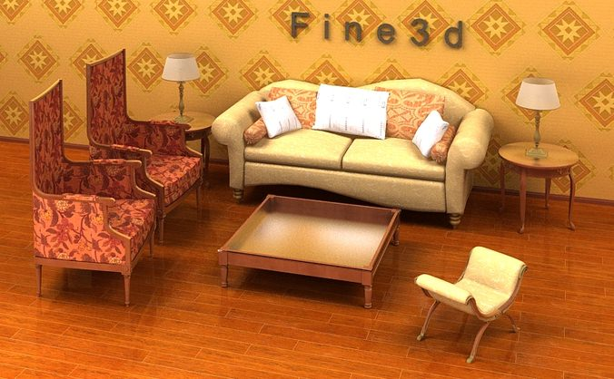 Living room furniture 04 combination sofa 023 3d model obj for New model living room furniture