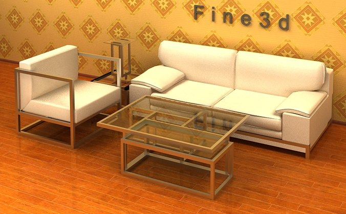 living room furniture 04 combination sofa 024 3d model obj 3ds