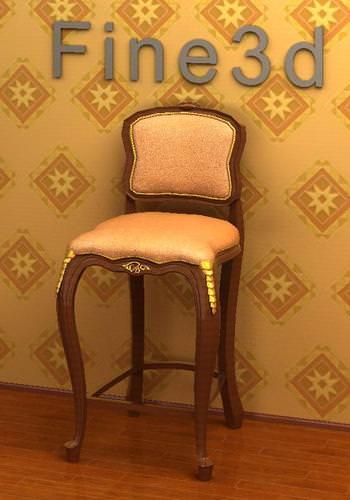 antique bar chair 08 3d model obj 3ds 1