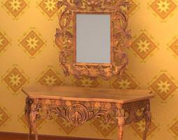 Antique Makeup Table and Mirror 089 3D Model