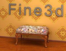 3d antique padded bench 08-066