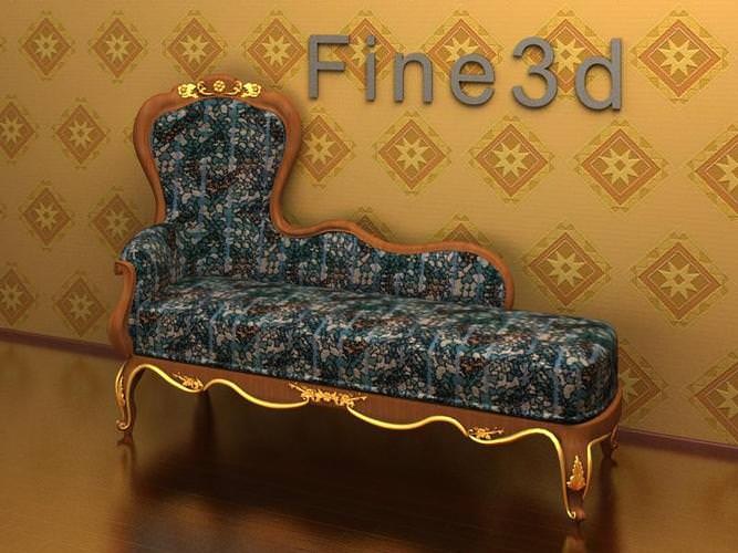 Chaise lounge antique 09 069 chair 3d model obj 3ds for Antique chaise lounge prices