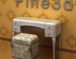 vanity table and stool antique-09-075-make-up desk 3d model