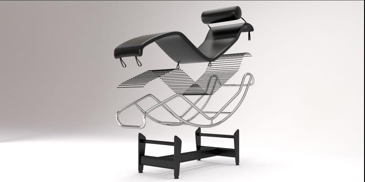Superbe ... Lc4 Chaise Lounge Design By Le Corbusier 3d Model Blend 6 ...