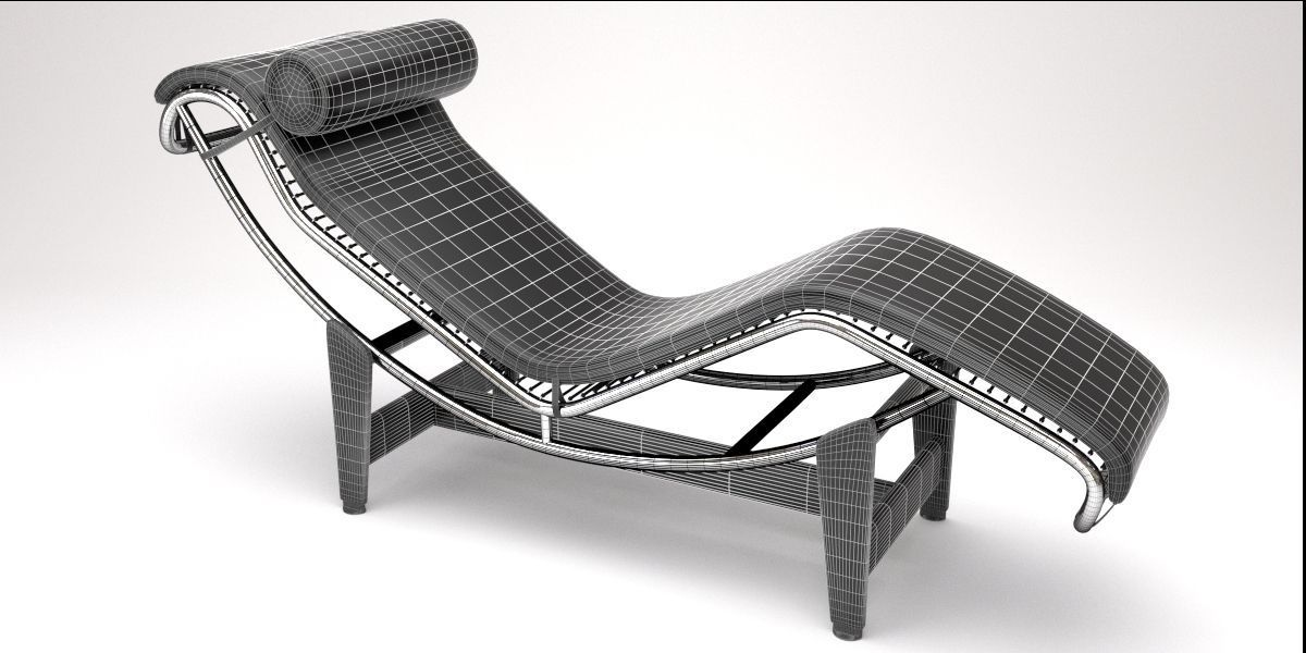 Lc4 chaise lounge design by le corbusier 3d model blend for Chaise le corbusier lc4