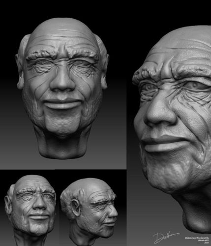 Oldman head3D model