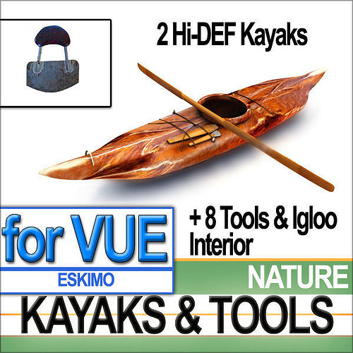 eskimo kayaks and igloo tools package 3d model 3ds vue 1