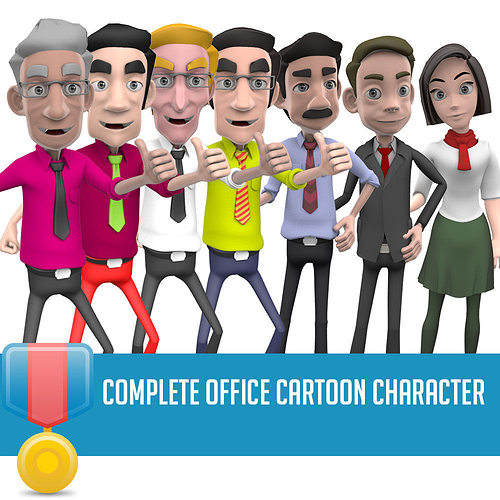 complete  character office 3d model low-poly rigged animated max obj mtl fbx ma mb mel 1