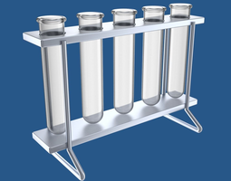 test-tubes in rack 3d model