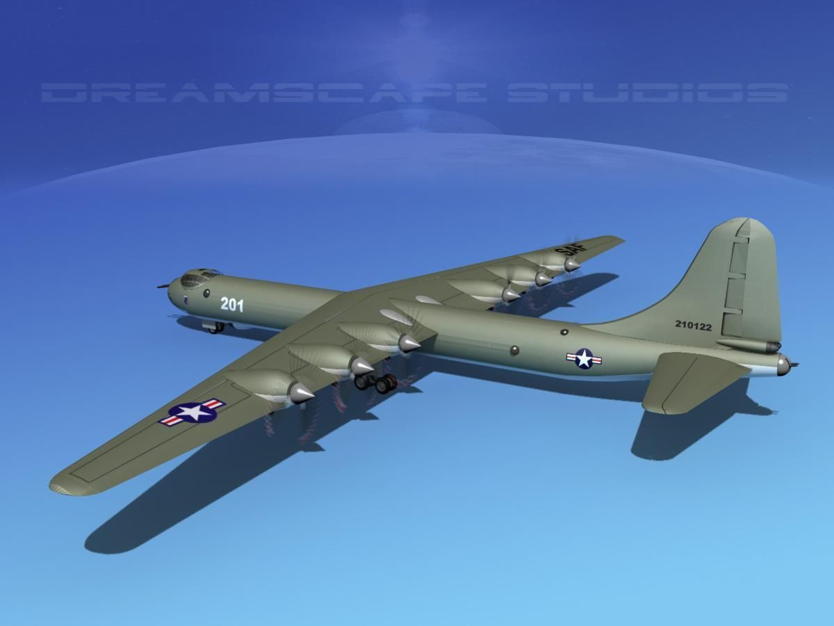 Convair b 36a peacemaker trainer 3d model animated rigged max obj
