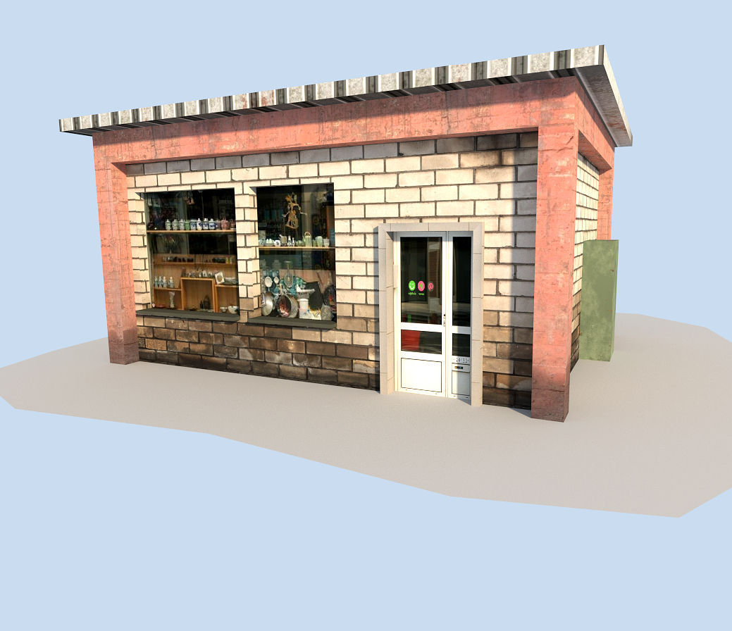 Low Poly Town House 3D Model Game Ready .obj .3ds .fbx