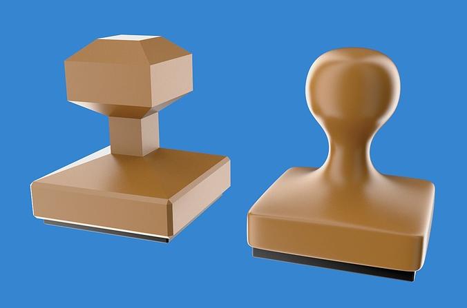 rubber stamp 3d model low-poly obj blend 1