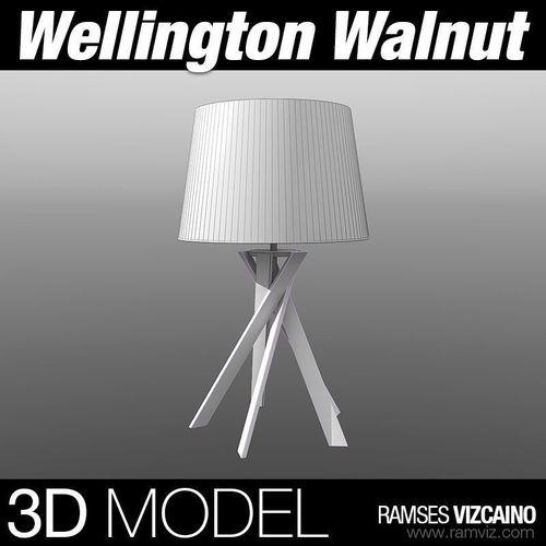 Wellington Walnut Lamp3D model