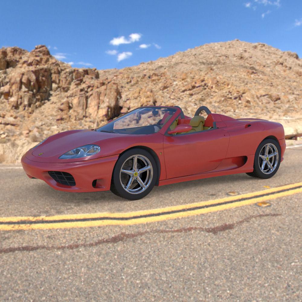 Cenário 3d Ferrari F430 Modelo 3d: Ferrari 360 Spider 2000 3D Model .obj .3ds