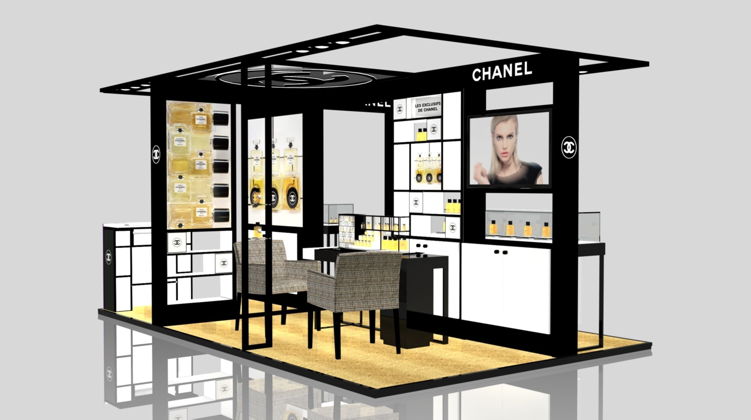 Exhibition Stand 3d Model Sketchup : Exhibition stand of chanel in gum d model sldprt sldasm