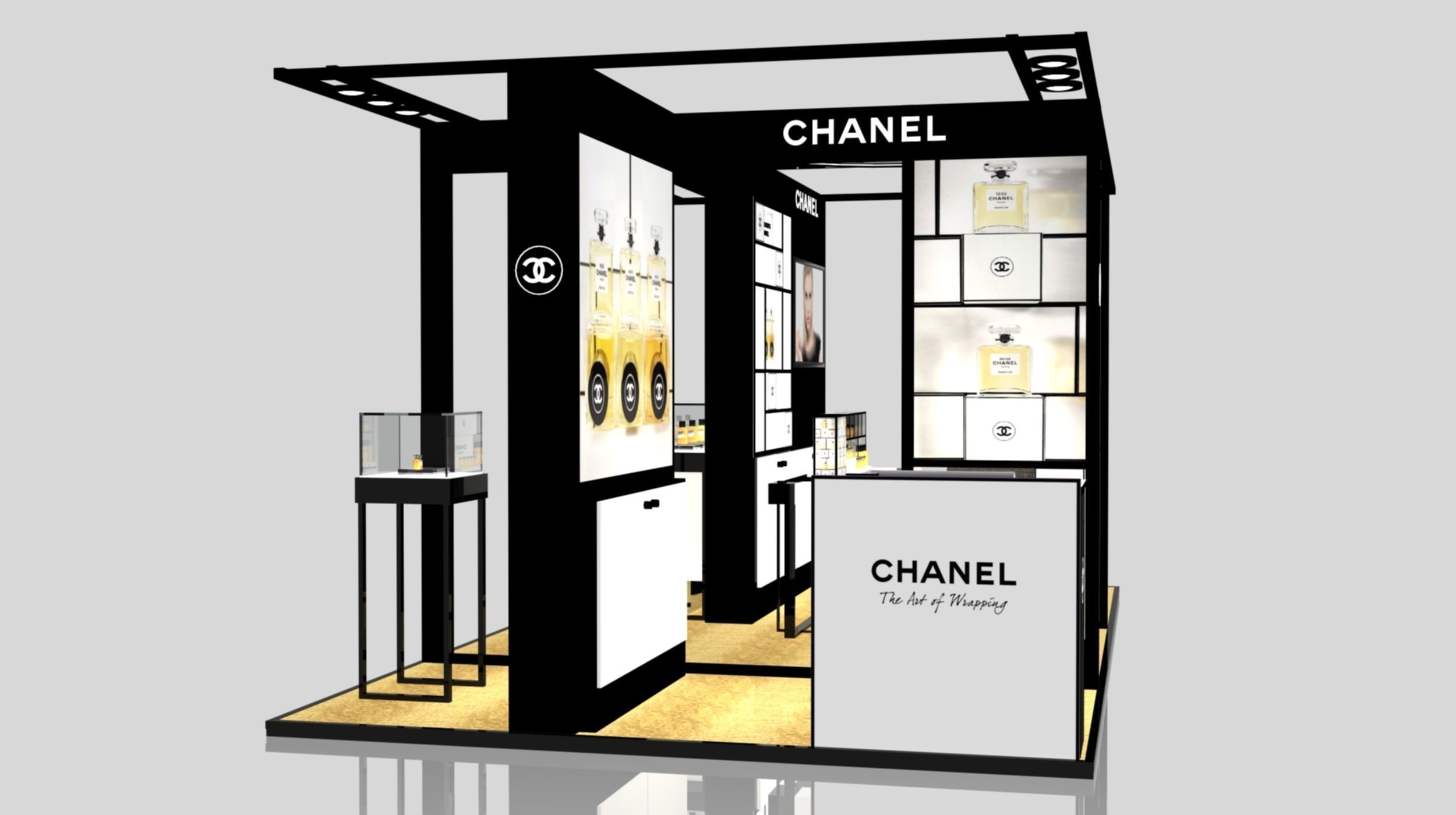 Exhibition Stand Sketchup : Exhibition stand of chanel in gum d model sldprt sldasm