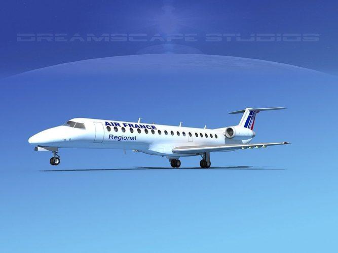 embraer erj-145 air france regional 3d model max obj mtl 3ds lwo lw lws dxf stl 1