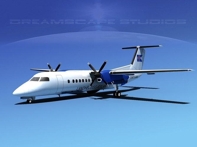 dehavilland dhc-8-q300 icelandic coast guard 3d model max obj 3ds lwo lw lws dxf stl 1