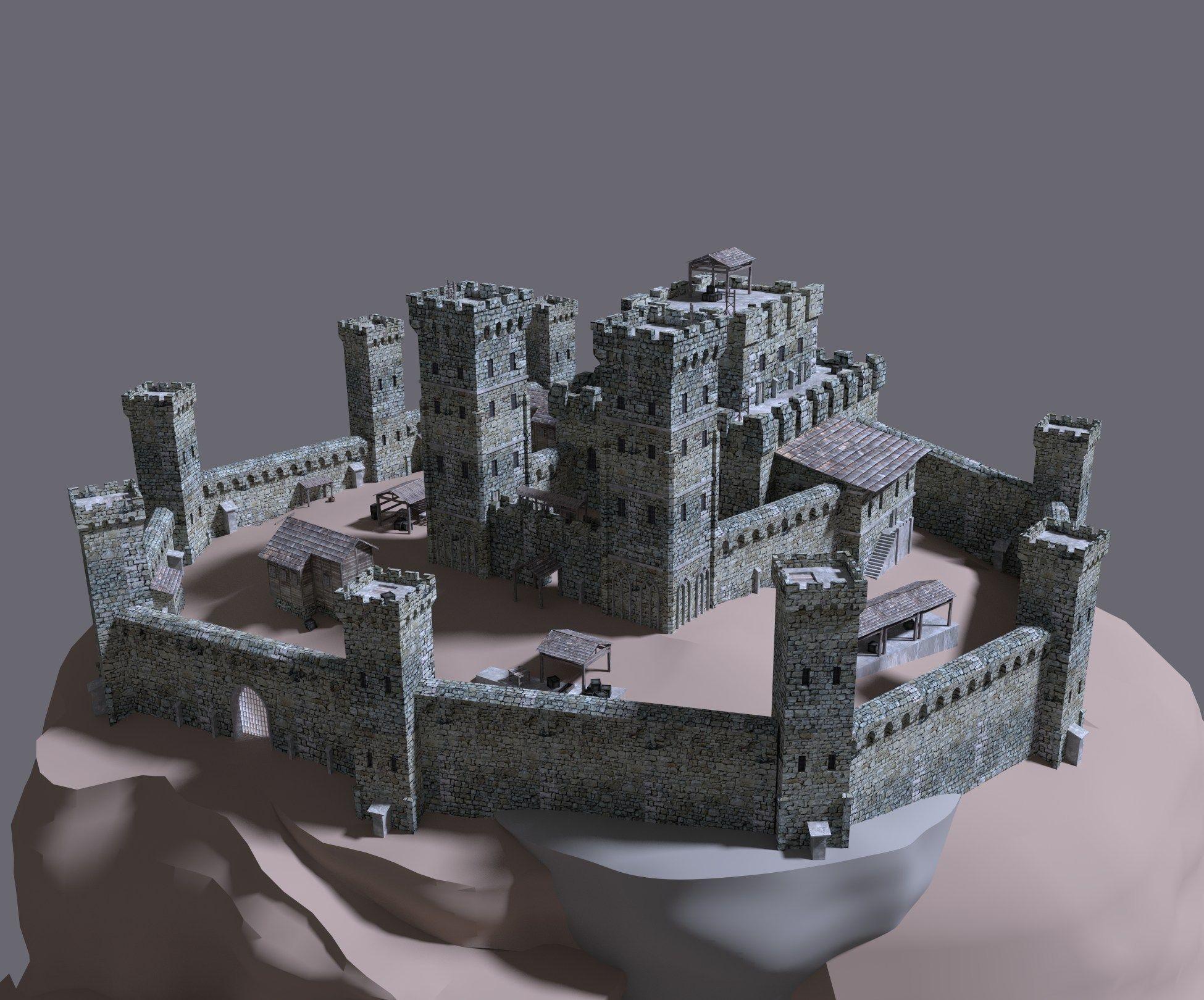 15 description comments 4 castle 3d model detailed model of medieval