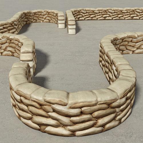 Sandbags Wall Construction Kit 3d Model Game Ready Fbx