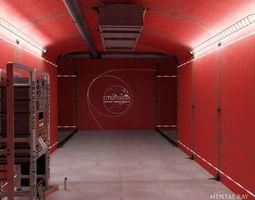 3D asset Analytical scientific rack in corridor