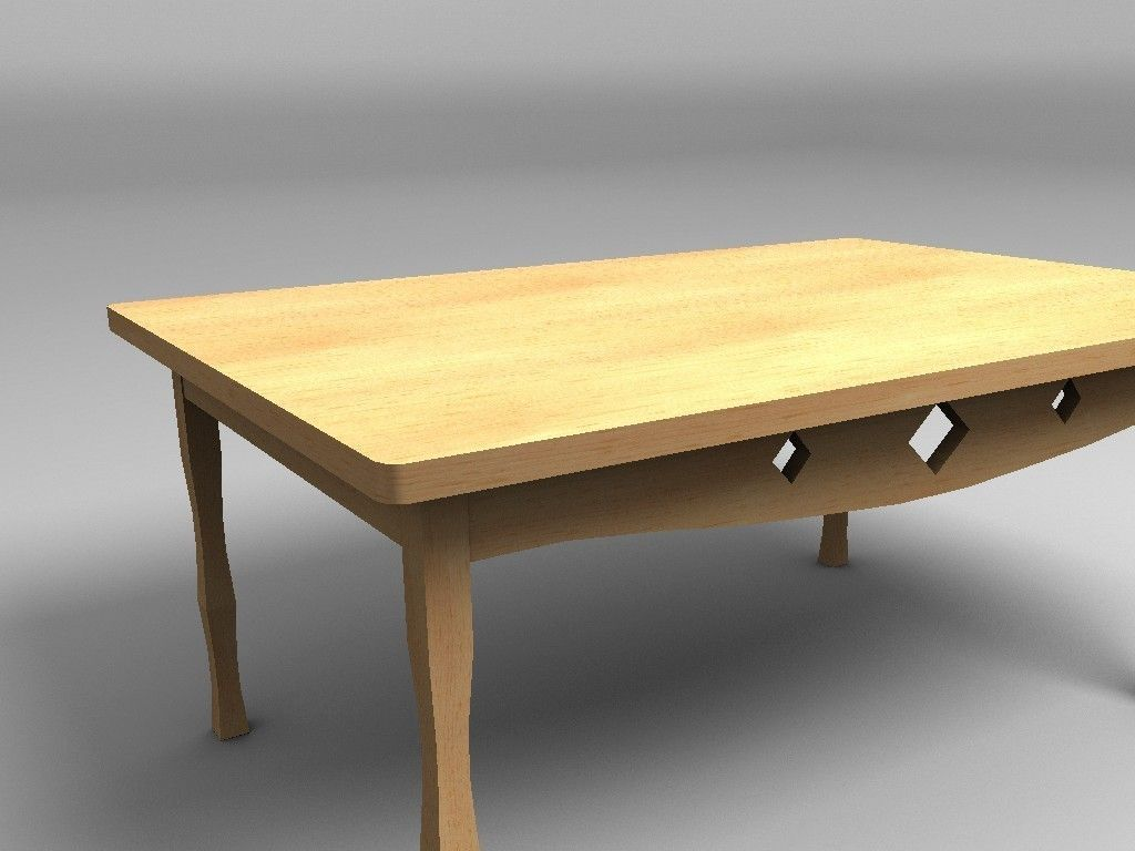 3d model wooden table vr ar low poly obj 3ds fbx lwo for Wooden low table
