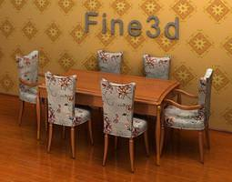 3d model dinin room table and 6 chairs 08-029