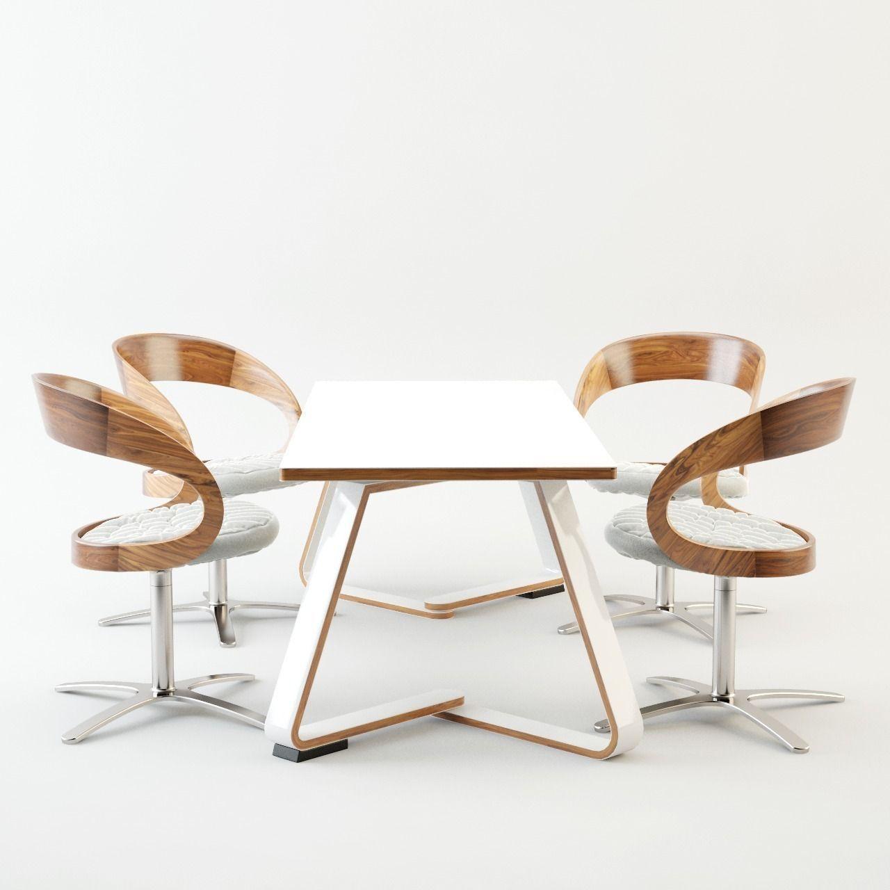 Dining table set 3d model obj fbx ma mb for New model dining table