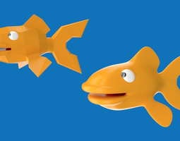 Cartoony goldfish character design 3D model
