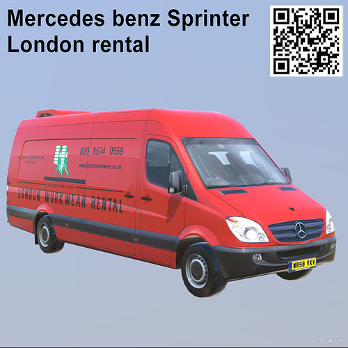 mercedes benz sprinter london rental extra long 3d model low-poly max obj mtl 3ds fbx 1