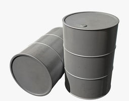 Barrel with silver paint 3D Model