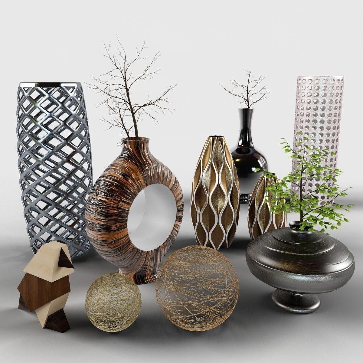 set of vases - decor set cody bird vases branch d model max obj fbx mtl mat